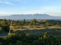 Ansicht des hohen Tatras mit schneebedeckten Spitzen von Velka Vapenica stockfoto