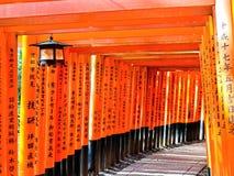 Ansicht des japanischen torii Weges in Kyoto, Japan Lizenzfreie Stockfotos