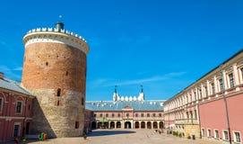 Ansicht des königlichen Schlosses Lublins Stockfotografie