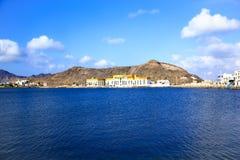 Ansicht des Küstenstadtteiles von Aden, der Jemen Stockbild