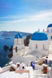 Ansicht des Kessels mit Treppe und Kirche, Santorini Lizenzfreie Stockbilder