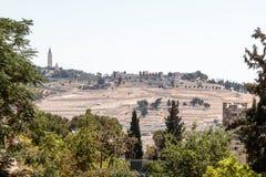 Ansicht des Kirchhofs des Ölbergs Jerusalem von Dung Gate im alten Schleppseil in Jerusalem, Israel stockfotos