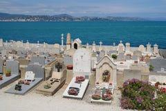 Ansicht des Kirchhofs in Saint Tropez, Frankreich Stockbild