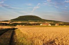 Ansicht des kleinen Berges vom Ackerland Lizenzfreies Stockbild
