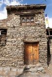 Ansicht des lokalen steinigen Gebäudes in Manang-Dorf Lizenzfreies Stockfoto