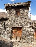 Ansicht des lokalen steinigen Gebäudes in Manang-Dorf Stockbild