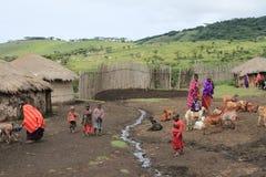 Ansicht des Masaidorfs in Ngorongoro-Bereich stockbilder
