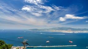 Ansicht des Meeres und der Küste von der Spitze des Berges, Gibraltar Lizenzfreie Stockfotos