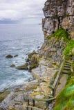 Ansicht des Meeres und der Klippen in Gijon, Asturien, Spanien Stockfotografie