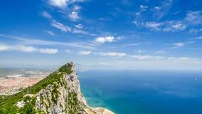 Ansicht des Meeres und der Tipp des Berges über Gibraltar Lizenzfreie Stockfotografie