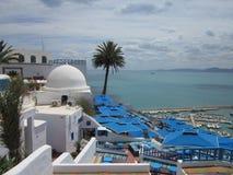 Ansicht des Meeres vom Höhepunkt in Sidi-` s Stadt - абу - sagte herein Lizenzfreies Stockbild