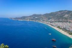 Ansicht des Mittelmeeres von Alanya-Schloss stockbilder
