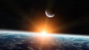 Ansicht des Mondes nah an Planet Erde im Raum Stockbild