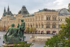 Ansicht des Monuments zu Minin und zu Pozharsky, Moskau, Russland lizenzfreies stockbild