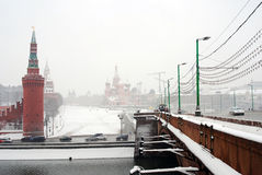 Blizzard in Moskau Stockbild