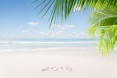Ansicht des netten Weihnachten und des tropischen Strandes des Themas des neuen Jahres Lizenzfreies Stockfoto