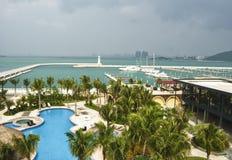 Ansicht des neuen Jachthafenkomplexes, Sanya Stockfotos