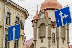 Ansicht des oberen Teiles des Haus ` Haus-Stadtbüros ` auf Sadovaya-Straße, St Petersburg, Russland Stockbilder