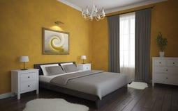 Ansicht des orange Schlafzimmers Stockbild