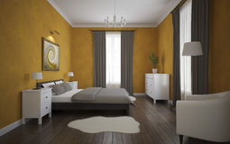 Ansicht des orange Schlafzimmers mit Parkettboden Lizenzfreie Stockfotografie