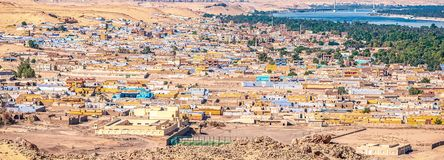 Ansicht des Panoramas des Nubian-Dorfs stockbild