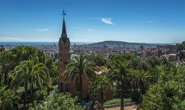 Ansicht des Parks Guell, Barcelona, Spanien Stockbilder