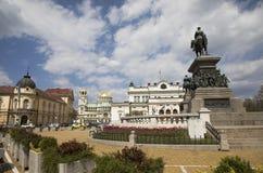 Ansicht des Parlaments, Monument zum Zar-Befreier, Alexander Nevsky Memorial Temple lizenzfreie stockbilder