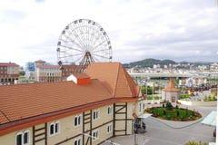 Ansicht des Riesenrads vom Fenster Lizenzfreies Stockbild