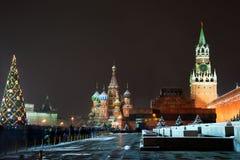 Ansicht des roten Quadrats auf Nacht des neuen Jahres Lizenzfreies Stockfoto