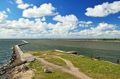 Ansicht des Südpiers Baltiysk, Kaliningrad-oblast, Russland Stockfotos