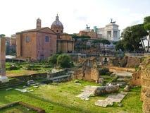 Ansicht des Santi Lucas e Martina Basilica von Roman Forum Schöne alte Fenster in Rom (Italien) Stockbilder