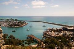 Ansicht des schönen Jachthafens von oben lizenzfreies stockfoto