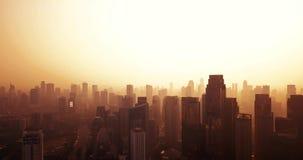 Ansicht des Schattenbildes der Wolkenkratzer in Jakarta stock video footage