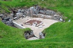 Ansicht des Schlafzimmers, in einem prähistorischen Dorf. Lizenzfreie Stockfotos