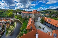 Ansicht des Schlosses in Cesky Krumlov, Tschechische Republik Lizenzfreie Stockfotografie