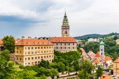 Ansicht des Schlosses in Krumlov-tschechischer Republik Cesky Stockfotografie