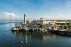 Ansicht des Schlosses von Morro von Havana Port in Kuba stockfotografie