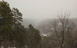 Ansicht des Schnees bedeckte Hügel Stockfotos
