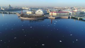Ansicht des Spuckens des Vasilievsky-Insel-Luftvideos St Petersburg, Russland stock video