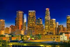 Ansicht des Stadtzentrums von LA am Abend, Nachtzeit stockfotografie