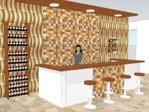 Ansicht des Stangenschreibtisches steht in einem Shop mit hölzerner Wandtäfelung stock abbildung