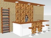 Ansicht des Stangenschreibtisches steht in einem Shop mit einem Innenwandmuster stock abbildung
