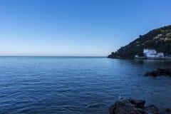 Ansicht des Strandes Portinho DA Arrabida in Setubal, Portugal Lizenzfreies Stockbild