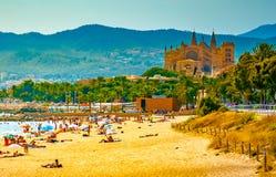 Ansicht des Strandes von Palma de Mallorca Lizenzfreies Stockfoto