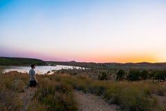 Ansicht des Sumpfs in Almansa, Kastilien La-Mancha, Spanien lizenzfreie stockbilder