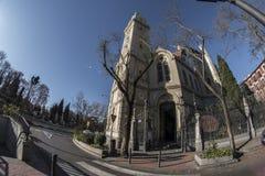 Ansicht des Türspions 180 von Kirche Sans Manuel und Sans Benito in der Verdichtereintrittslufttemperat Stockfotografie