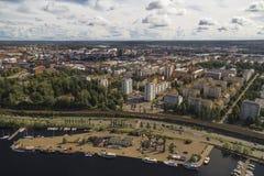 Ansicht des Tamperes von der Aussichtsplattform Stockfotos