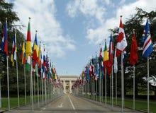 Ansicht des UNO-Gebäudes in Genf Stockbild