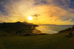 Ansicht des Vega Strandes in Asturias, Spanien. Stockbilder
