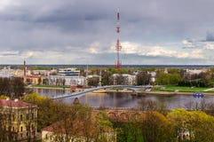 Ansicht des Veliky Novgorod von einer Höhe Stockbilder